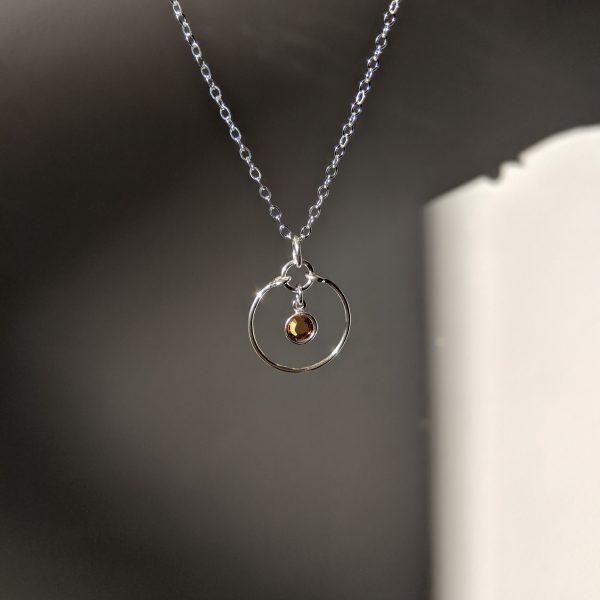 Topaz silver gem necklace