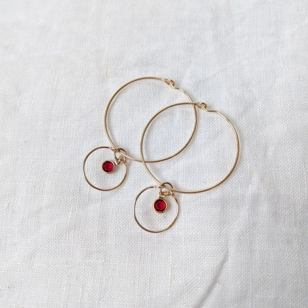 gem hoop earrings with siam january july birthstone