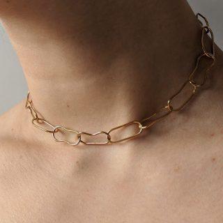 Close up of gold choker on model