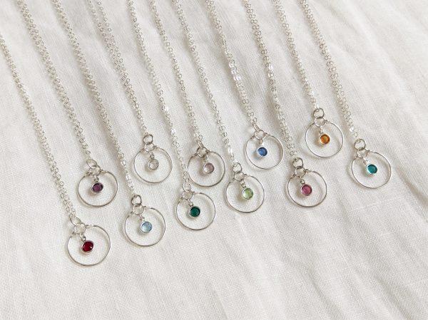 silver gem necklaces