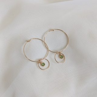Gem hoop earrings in peridot gold filled