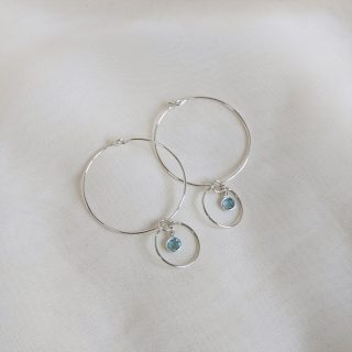 Gem hoop earrings in aquamarine sterling silver