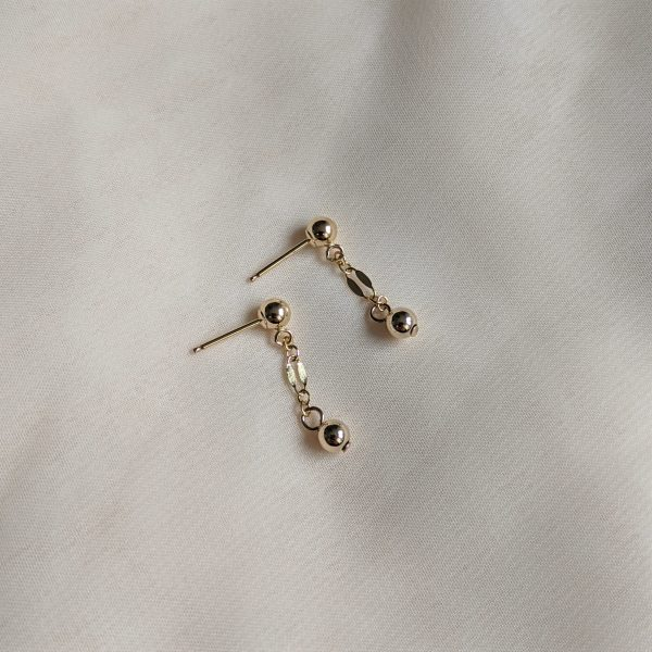gold filled dapped chain stud earrings