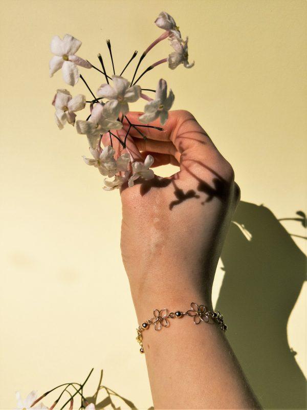 carnations bracelet on model
