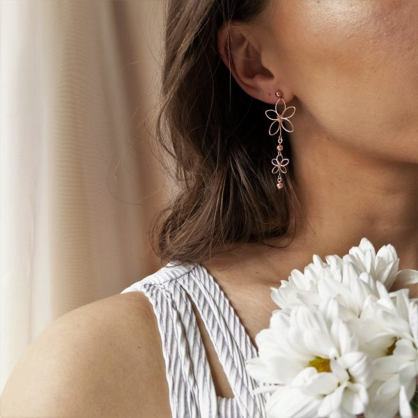 chrysanth earrings on model