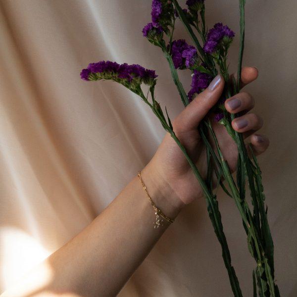 sea lavender bracelet on model