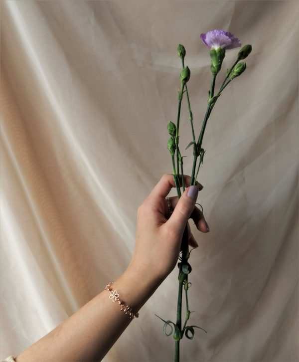 carnation bracelet on model