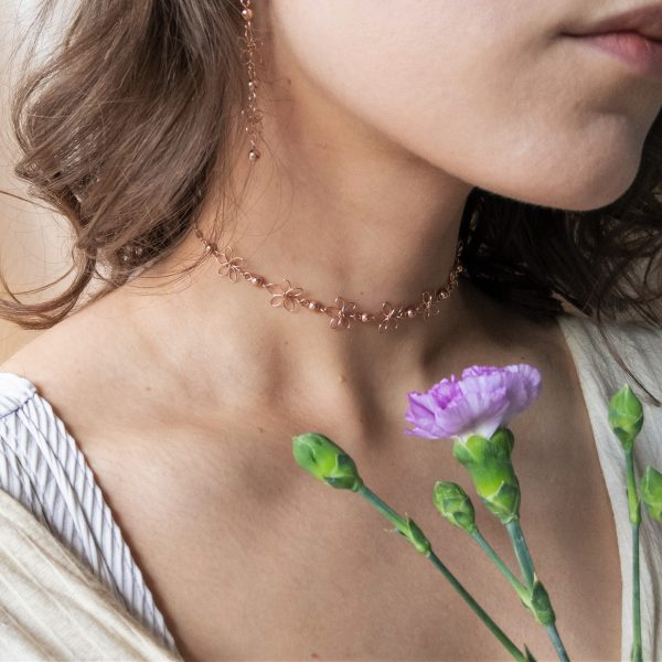 carnation earrings and choker on model
