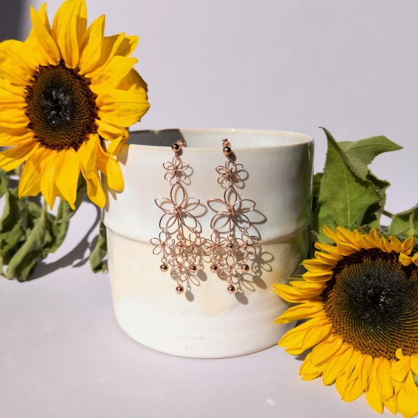 sunflower earrings styled with pot and flowers