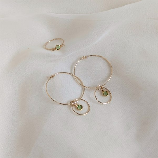 Gem hoops and ring in gold peridot