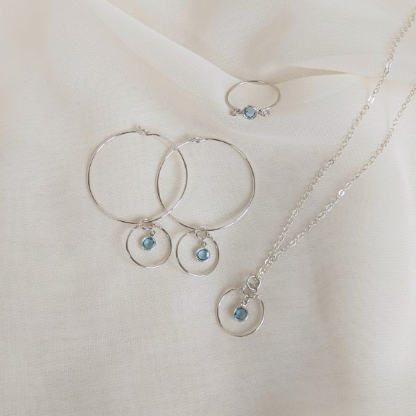 Gem hoops, ring and necklace in silver aquamarine