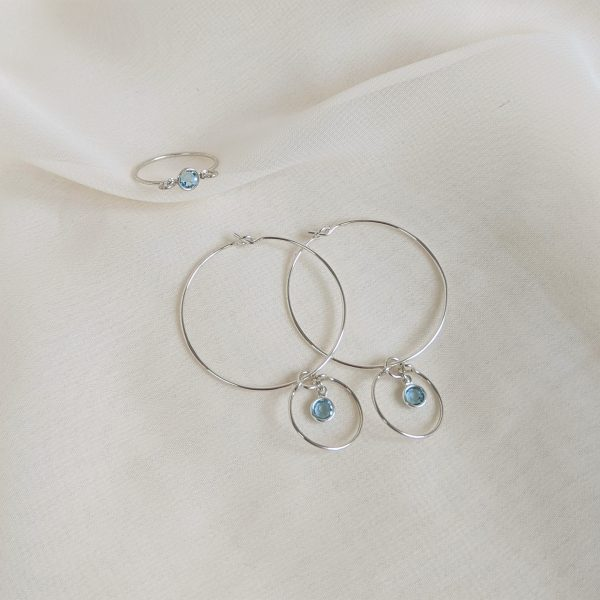 Gem hoops and ring in silver aquamarine