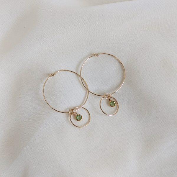 Gem hoop earrings in peridot gold filled