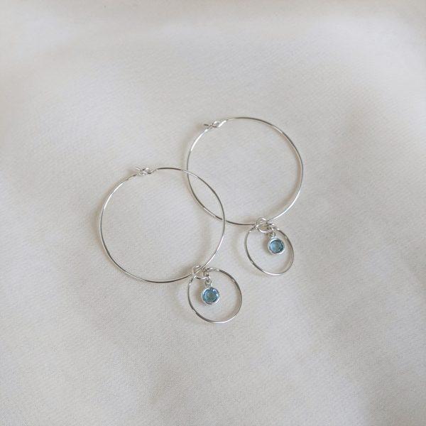Gem hoop earrings in aquamarine sterling silver