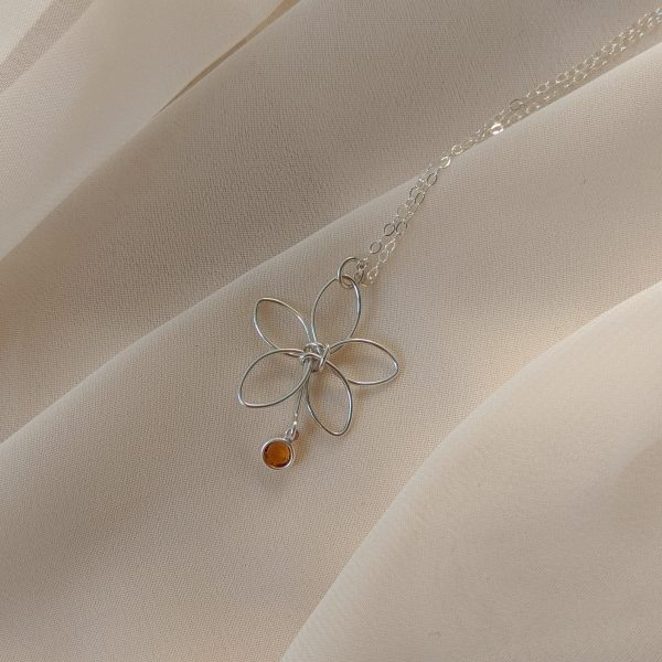 Silver flora necklace with yellow gem