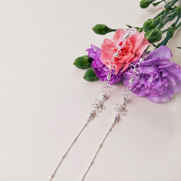 carnation glasses chain with flowers