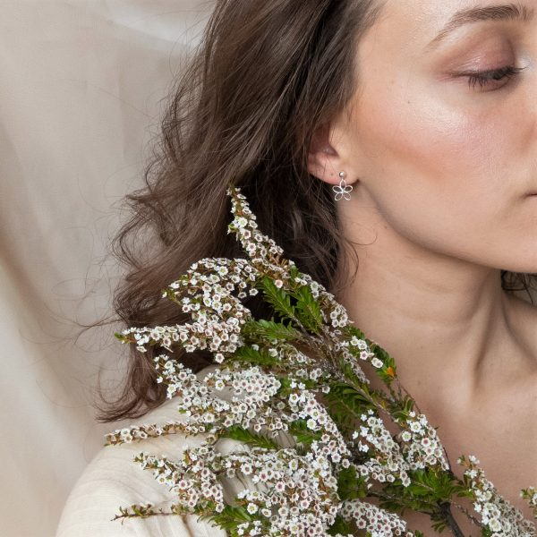 wildflower earrings on model