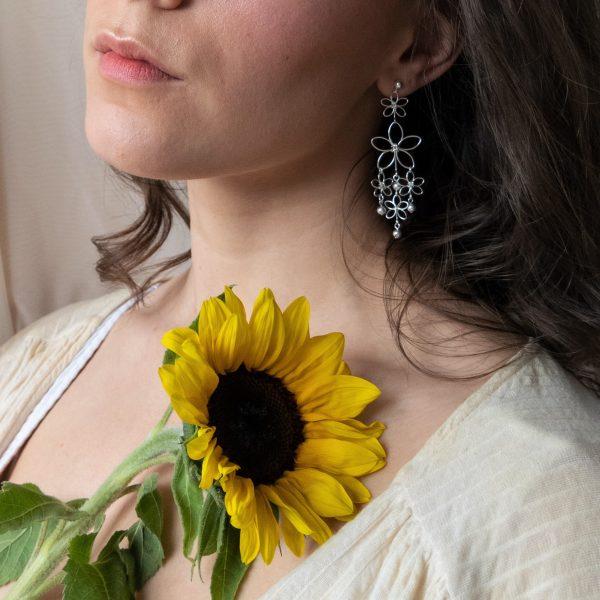 sunflower earrings on model