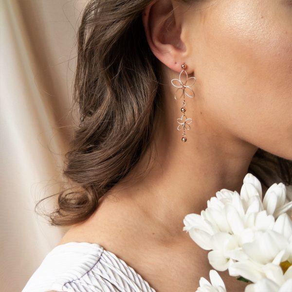 chrysanth earrings on model