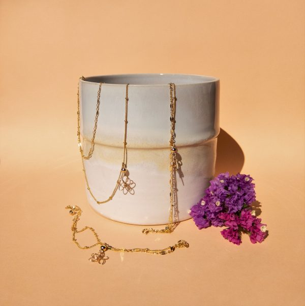 sea lavender necklace, bracelet and anklet styled with pot and flowers
