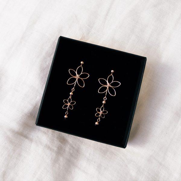 chrysanth earrings in box