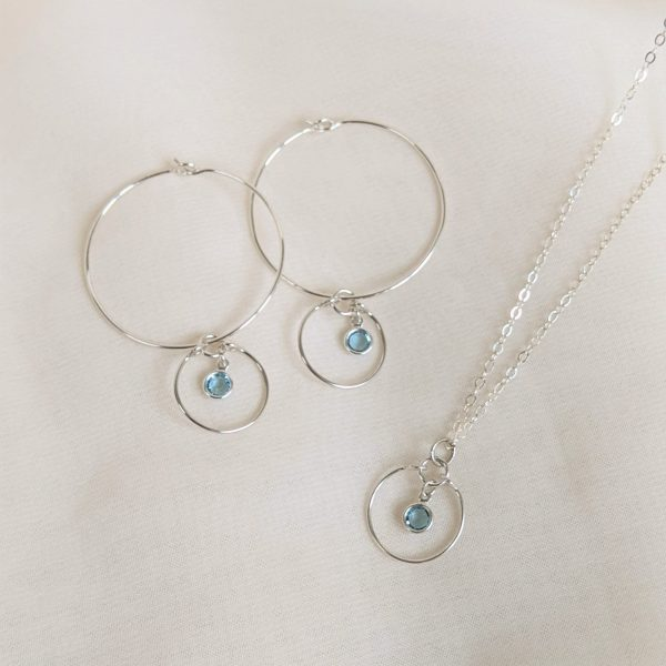 Gem hoops and necklace in silver aquamarine