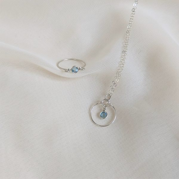 Gem ring and necklace in silver aquamarine
