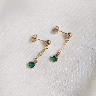 emerald gem drop earrings in gold