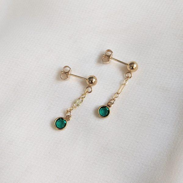 emerald gem drop earrings in gold