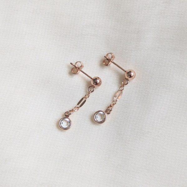 crystal gem drop earrings in rose gold