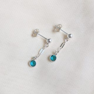 blue zircon gem drop earrings in silver