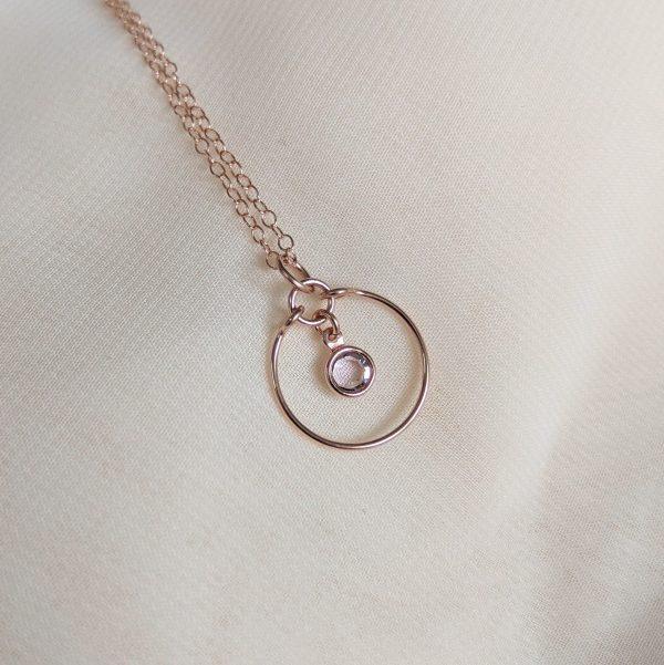 light amethyst rose gold gem necklace