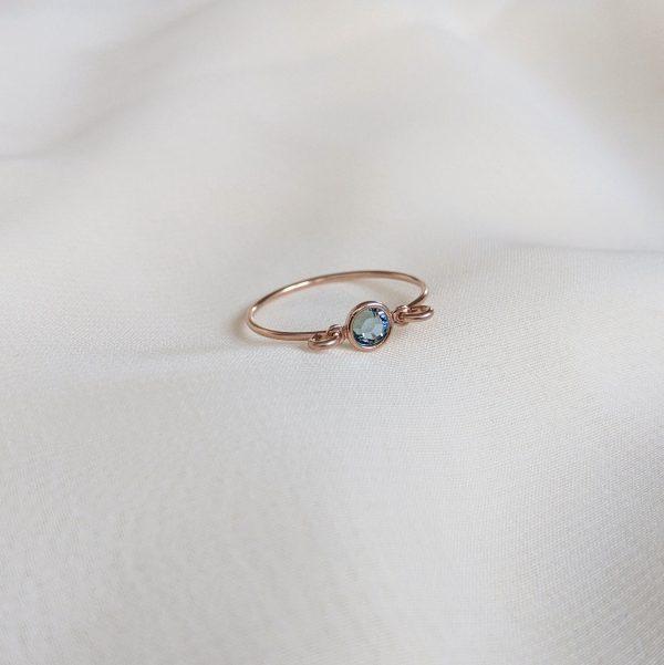 aquamarine rose gold gem ring