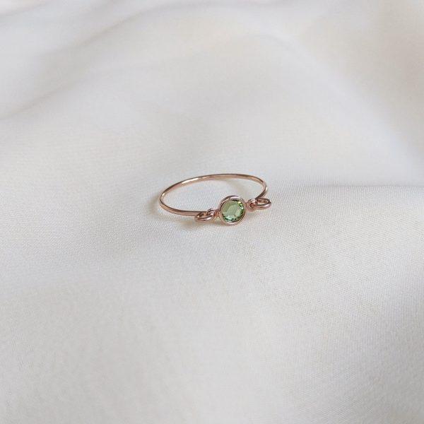 peridot rose gold gem ring