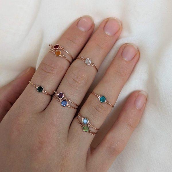 rose gold gem ring