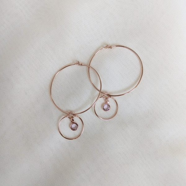Gem hoop earrings in light amethyst rose gold