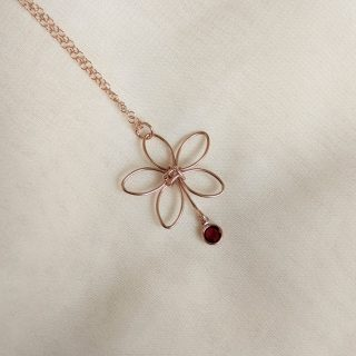 rose gold flora necklace red gem
