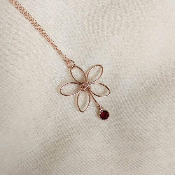 rose gold flora necklace red gem