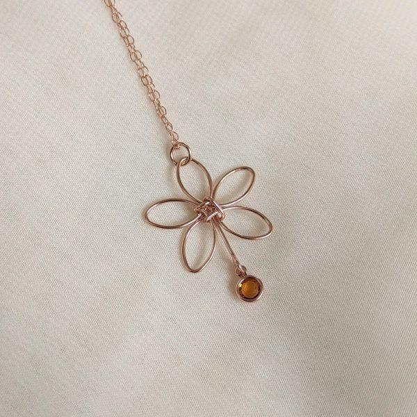 rose gold flora necklace yellow gem