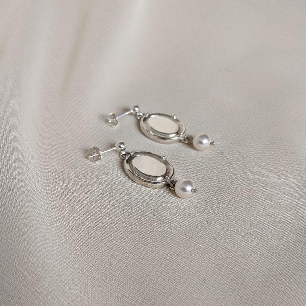 silver portrait earrings